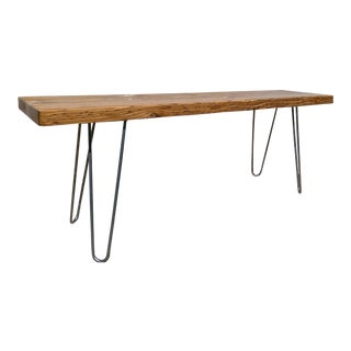 Contemporary Hairpin Leg Wood Bench