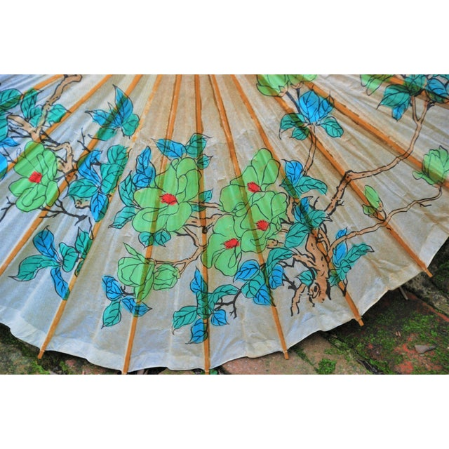 Vintage Asian Rice Paper Umbrella - Image 3 of 8