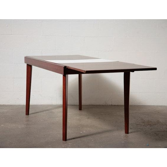 Mid-Century Rosewood Table With White Leaf - Image 7 of 8