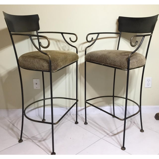 Wrought Iron Bar Stools - A Pair - Image 10 of 11