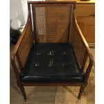 Image of Mid Century Leather Faux Bamboo Chair & Ottoman