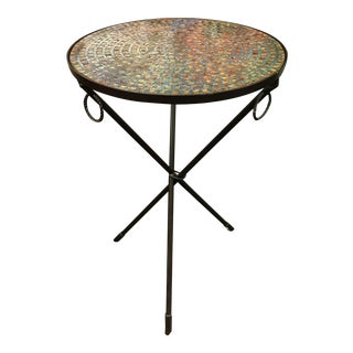 Glass Mosaic Iron Tripod Accent Table