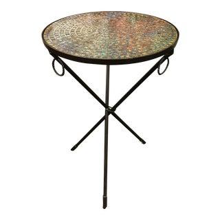 Glass Mosaic Iron Tripod Accent Table