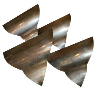 French Art Deco Triangular Form Steel Sconces - Set of Four