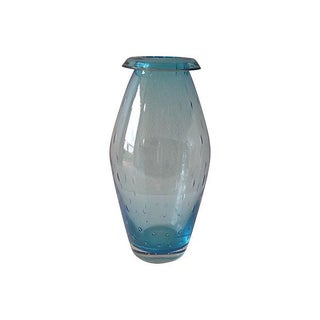 Italian Murano Blue Vase with Collar & Bubbles