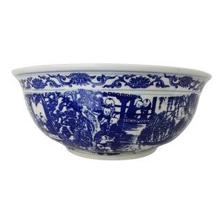 Chinese LG Centerpiece Blue & White Bowl