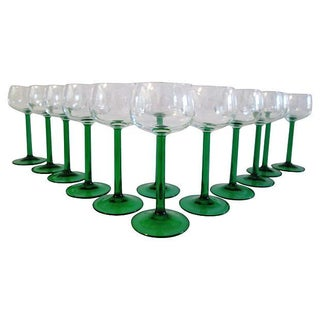 Mid-century French Emerald Wineglasses - Set of 12