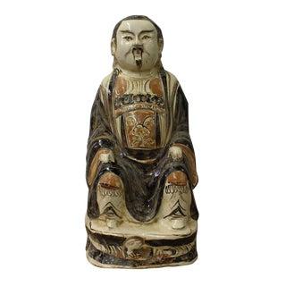 Chinese Vintage Handmade Ceramic Glazed Old Man Figure