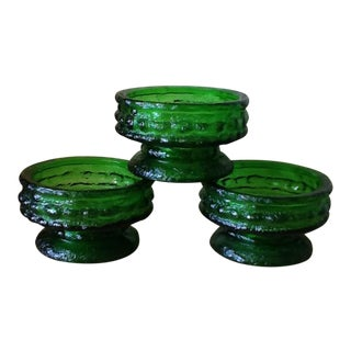 Emerald Green Glass Candle Holders - Set of 3