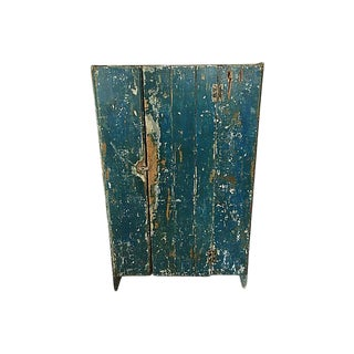 Antique French Country Style Original Blue Distressed Linen Cupboard