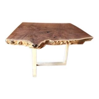 Custom Live Edge Solid Claro Walnut Slab Coffee Table