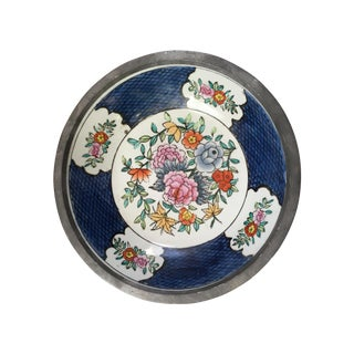 Hand Painted Ceramic And Pewter Bowl