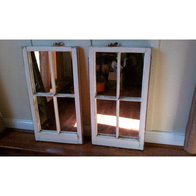 Image of Shabby Chic Wood Window Pane Mirrors - A Pair