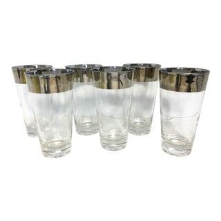 Vintage Dorothy Thorpe Style Silver Rim Highball Glasses- Set of 6