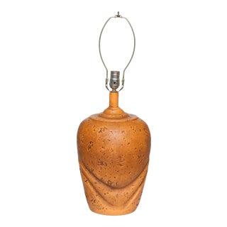 Large Mid-Century Ceramic Tangerine Lamp