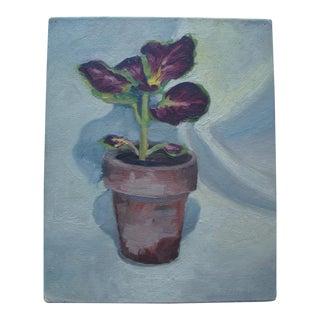 1940 Mid-Century Potted Coleus Plant Painting