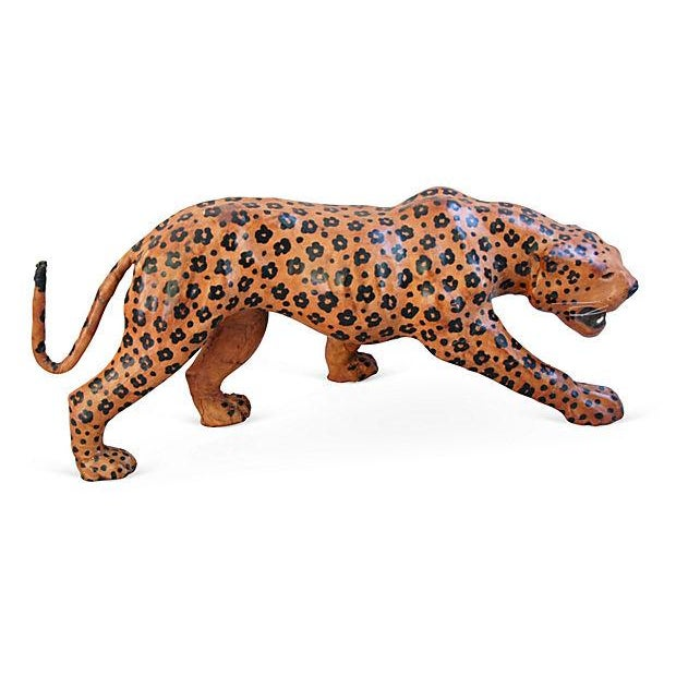 "Vintage Large 31"" Hand-Painted Leather Jaguar - Image 1 of 6"