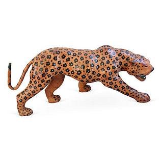 "Vintage Large 31"" Hand-Painted Leather Jaguar"