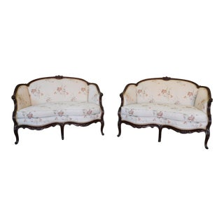 1930s Antique Mahogany French Upholstered Louis XV Style Loveseats - a Pair
