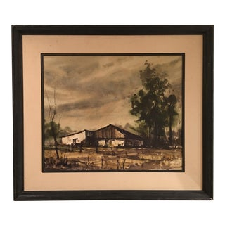 Vintage Landscape Watercolor Painting