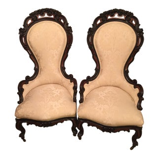 Antique Victorian Ladies Parlor/ Slipper Chairs- a Pair