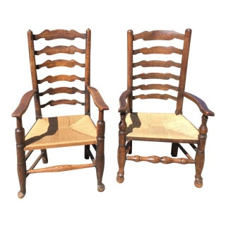 Antique English Ladder Back Chairs - A Pair