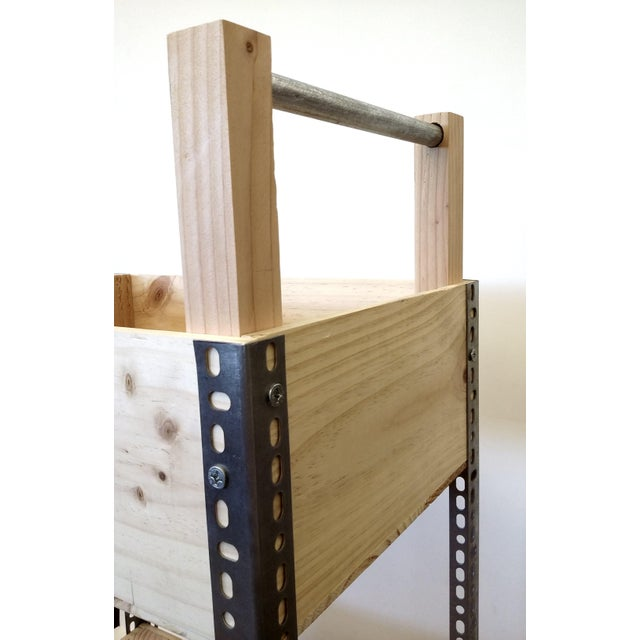 French Wine Box Industrial Bar Cart - Image 6 of 11