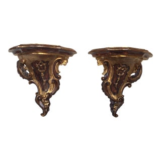 18th Century Style Gold & Brown Giltwoood Brackets - a Pair