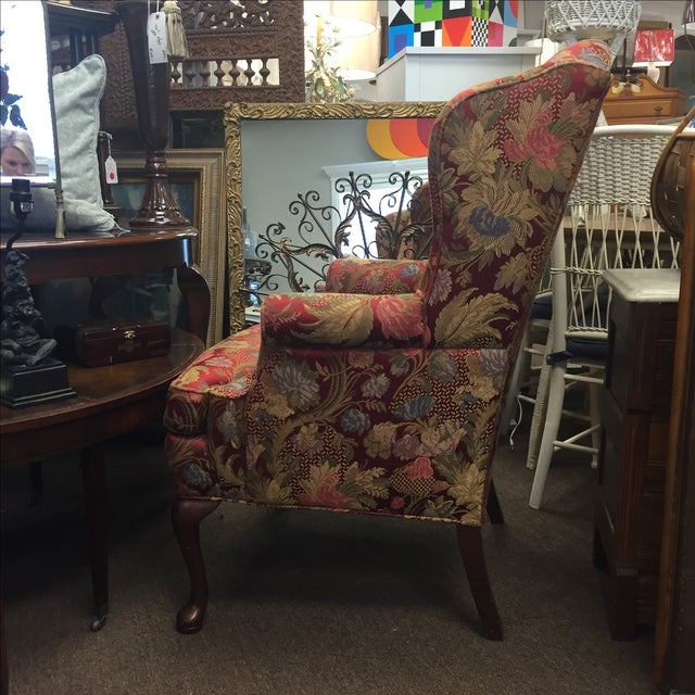 Red Floral Wing Back Chairs - A Pair - Image 6 of 7