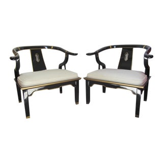 Black Century Lacquer Chairs, Gold Details - Pair