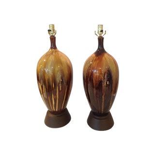 Large Vintage Drip Glaze Lamps - Pair
