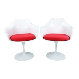 Tulip Arm Chairs With Red Cushions - a Pair