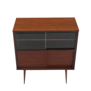 Mid-Century Modern Walnut Cabinet with Sliding Glass Doors