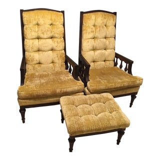 Retro Midcentury Gold Crushed Velvet Chair Set