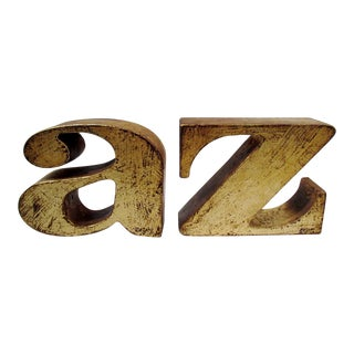 Curtis Jere 1960s Gilded a to Z Bookends - a Pair