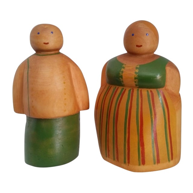Vintage Scandinavian Wooden Figurines - A Pair - Image 1 of 4