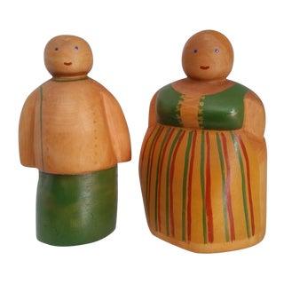 Vintage Scandinavian Wooden Figurines - A Pair
