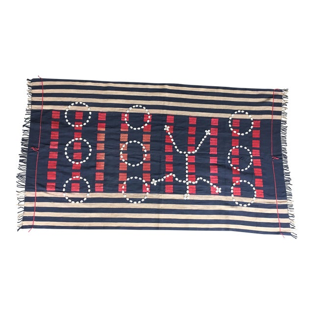 Vintage African Cowrie Shell Throw Blanket - Image 1 of 5