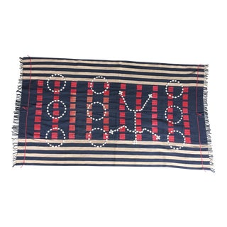 Vintage African Cowrie Shell Throw Blanket