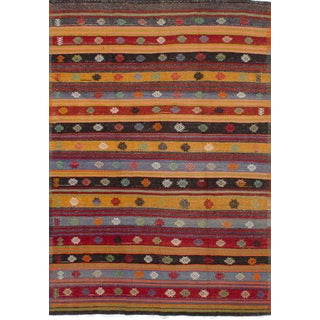 Orange Wool Pile Turkish Rug - 6' x 9'