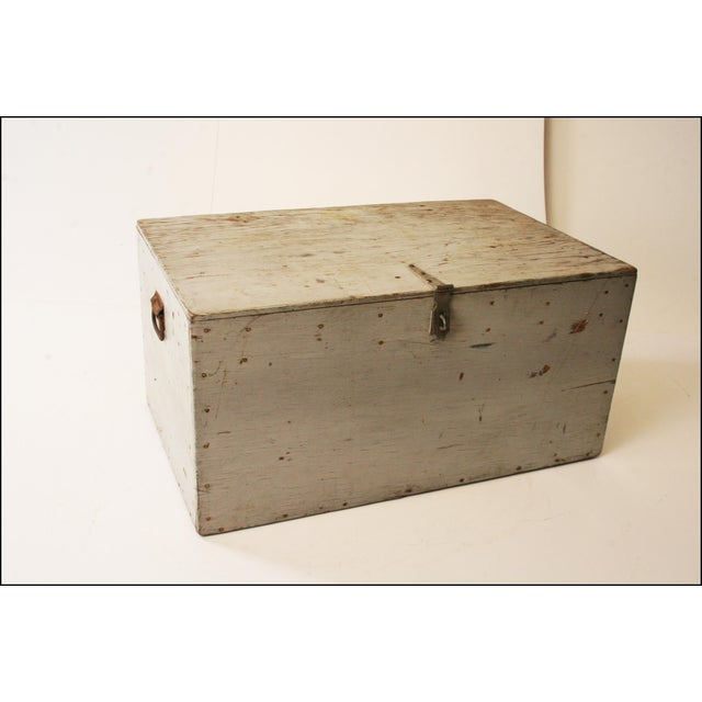 Vintage Industrial Wood Gray Military Storage Chest - Image 3 of 11