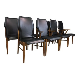 Walnut and Black Vinyl Dining Chairs - Set of 8