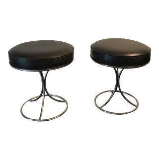 Vintage Brown & Leather Nickel Stools - A Pair