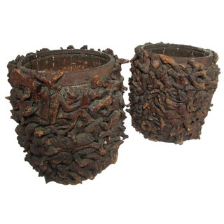 Early 20th Century American Adirondack Root Planters - a Pair