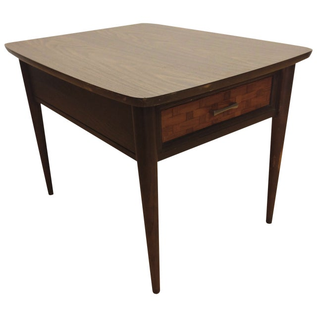 Mid-Century Woven Front & Formica End Table - Image 1 of 7