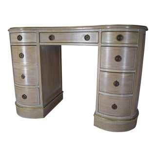 Antique Desk With Leather Top & Hand Painted Gilt