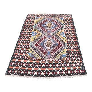 Vintage Turkish Oushak Kilim Carpet - 3′11″ × 5′9″