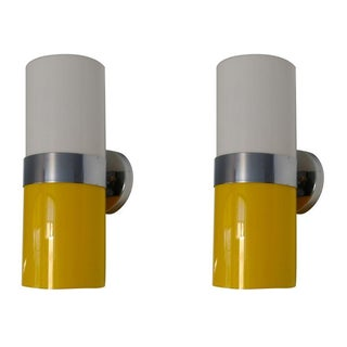 Modern Yellow Wall Sconces - A Pair