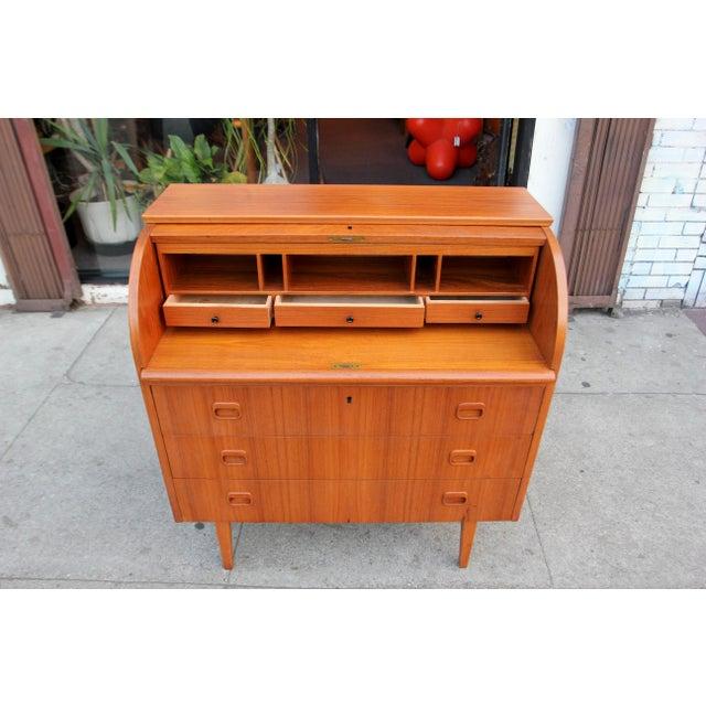 danish modern teak roll top desk chairish. Black Bedroom Furniture Sets. Home Design Ideas