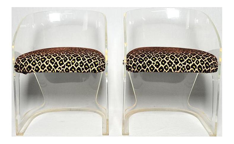 Vladimir Kagan Lotus Lucite Chairs Faux Leopard Fabric   A Pair